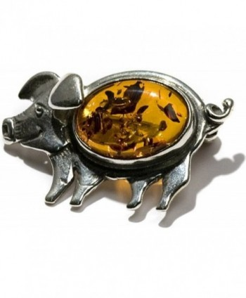Amber Sterling Silver Antique Collectable Happy Pig Pin Brooch - C811B5LSQND