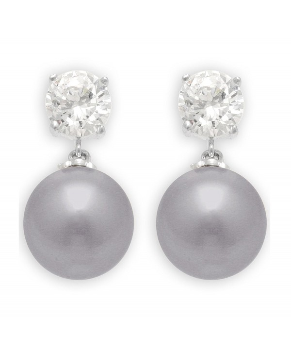 JanKuo Jewelry Rhodium Plated Gray Color Simulated Pearl with CZ Dangling Earrings - C9115J0XS1L