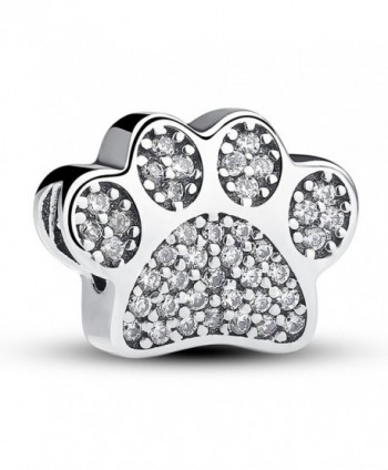 Everbling Sterling Silver European Bracelet - Dog Paw Prints With Clear CZ - CS1884GCDNI
