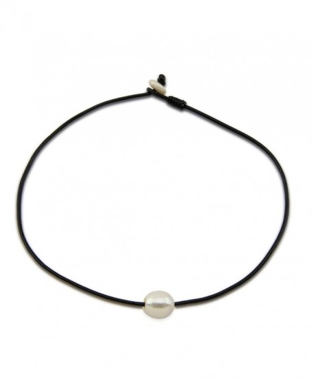 """12-13mm White Freshwater Cultured Pearl Necklace with Leather-18"""" - CS11U24D3P5"""