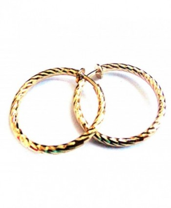 Clip on Earrings 1 inch Hoop Gold Or Silver Plated Textured Hoops Non Pierced - CF12JSP7953