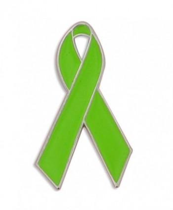 PinMart's Lime Green Awareness Ribbon Enamel Lapel Pin - C711MCFEX7T