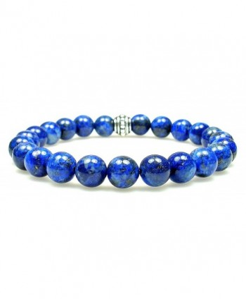 LAPIS LAZULI 8mm Round Genuine Crystal Gemstone Beaded Bracelet on Elastic Cord - CE12ODU5THX