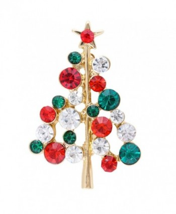 VK Accessories Christmas Tree Brooch Crystal Rhinestone Inlaid Ornament Shining Crystal Brooch Pin - red - CR12MZ5OU8E