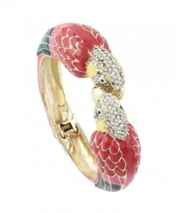 EVER FAITH Women's Austrian Crystal Enamel Parrot Bird Bangle Bracelet Gold-Tone - Red w/ Pink - C411BRVZ823