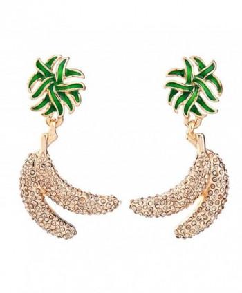 Dot & Line crystal pave gold banana enamel green leaf fruit earrings - C8183KMO5SO
