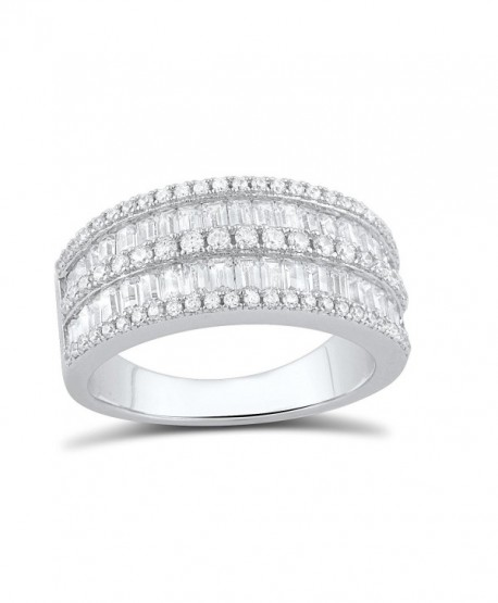 Sterling Silver Simulated Diamond Baguette Cut Statement Ring (Size 4 - 9) - CZ12CLV2N89