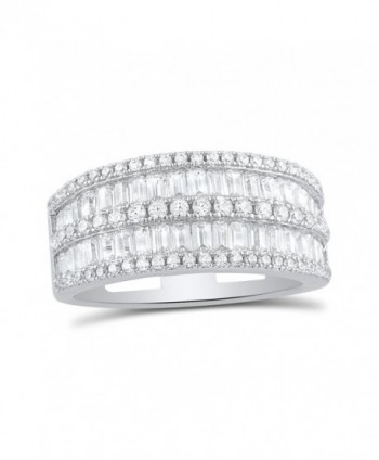 Sterling Simulated Diamond Baguette Statement in Women's Statement Rings