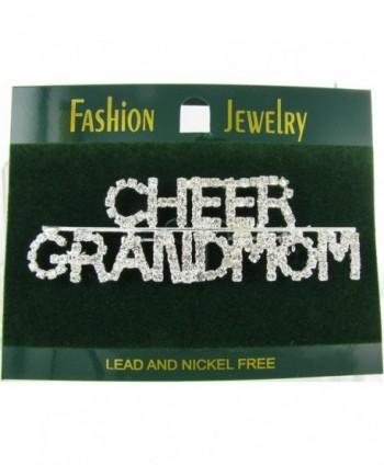 Cheer Grandmom Rhinestone Word Brooch Pin with Clear Crystals - CY11GBVSM8V