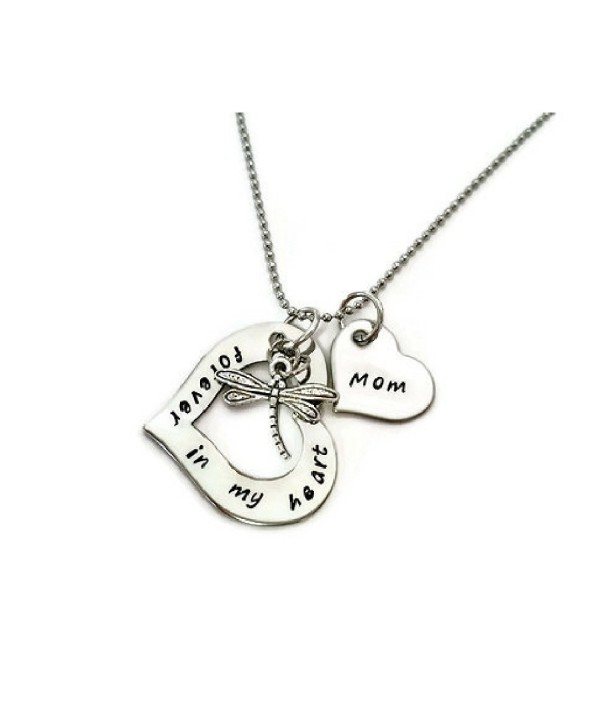"Sympathy necklace for ""Mom"" with dragonfly and heart - CV17Z6SHDO8"