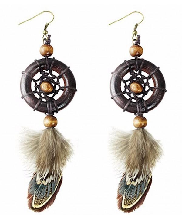"Best Wing Jewelry ""Dream Catcher Feather /w Brown Wooden Beads"" Dangle Earrings - CZ185MDWEOW"