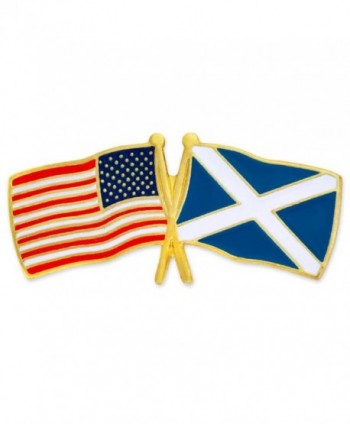 PinMart's USA and Scotland Crossed Friendship Flag Enamel Lapel Pin - C011L7LG1XX