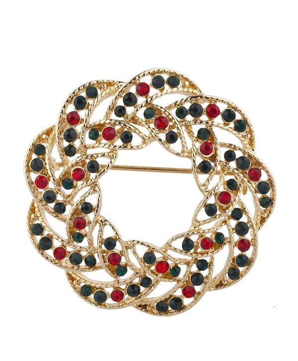 Lux Accessories Gold Tone Green Red Rhinestones Wreath Christmas Xmas Brooch Pin - CK185G4ZO9C