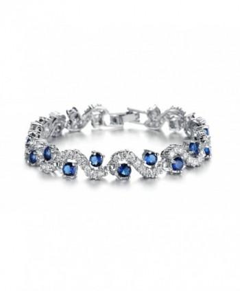 Beydodo Platinum Plating Bracelets For Women - 4 Prongs Cubic Zirconia Wave Shape Crystal Multicolor - Blue(19cm) - CQ12O9YBZ08