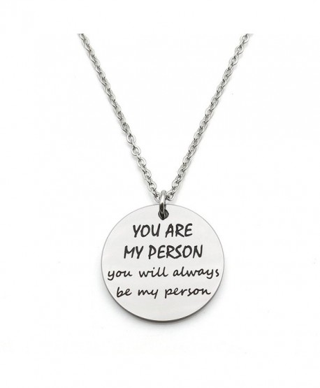 You Are My Person You Will Always Be My Person Best Friends Gift Stainless Steel Pendant Necklace - CG1882ENOCI