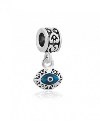 2 Sided Blue Evil Eye Protection Dangle Charm Jewelry Bead Fits European Compatible Bracelets - C512O27J7O0