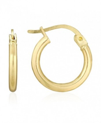 14k Yellow Gold 2mm Thick High Polished Plain Hoop Earrings - CO180RX9WGM