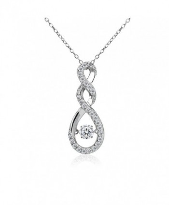 Sterling Silver Dancing Infinity Twist Necklace Made with Swarovski Zirconia - CE187UC9E6O