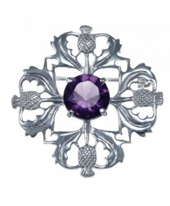 Sterling Silver Purple Stone Thistle Brooch - Scottish Pin - CR12N34TCRS