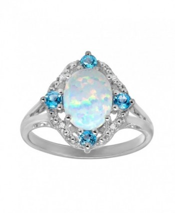 1 1/6 ct Created Opal and Natural Swiss Blue Topaz Ring with Diamonds in Sterling Silver - CQ11Y9NAGCH