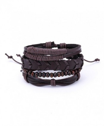 Susenstone Women Multilayer Bracelet-Handmade Bangle Leather Bracelets - I - CK188ZGN6DD