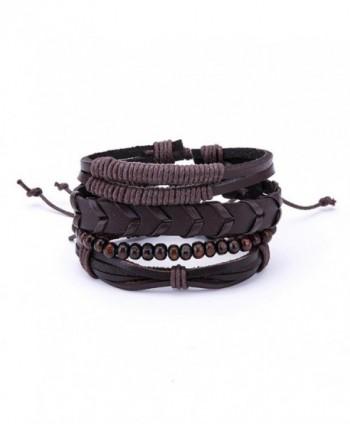 Susenstone Women Multilayer Bracelet-Handmade Bangle Leather Bracelets - I - CK188ZGN6DD