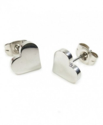 Pair Stainless Steel Heart Post Stud Earrings - CB11CHSWIVT