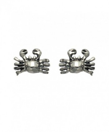 Tiny Sterling Silver Crab Stud Earrings - CO11DTKR2VZ