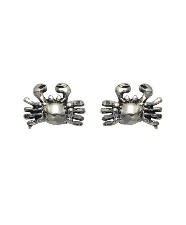 Tiny Sterling Silver Crab Stud Earrings - CO11DTKR2VZ
