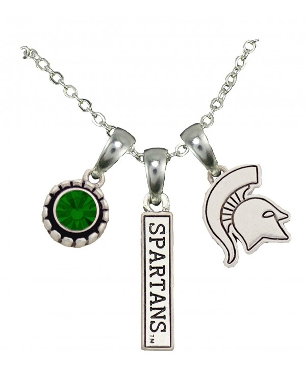 Michigan State Spartans 3 Charm Green Crystal Silver Chain Necklace Jewelry MSU - CQ12CF5F1PD