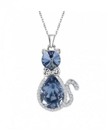 EleQueen Silver tone Necklace Teardrop Swarovski - Sapphire Color - C811R3G0B3R
