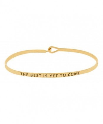 "Inspirational Encouraging ""THE BEST IS YET TO COME"" Thin Brass Mantra Bangle Hook Bracelet - Gold - C0185SAYUCL"
