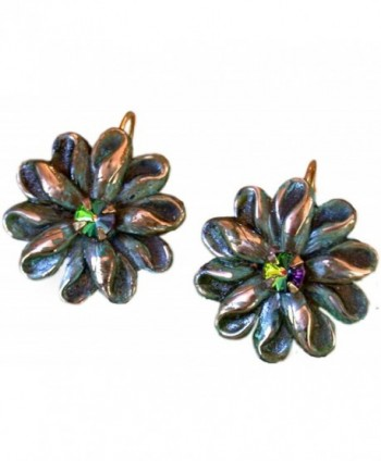 Victorian Zinnia Floral Earrings - Dark Vitrail Swarovski Crystals - C9117GRLZ79