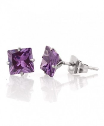Simulated Diamond Square Earrings 6mm with Gift Box ( White / Champagne / Purple ) - CM124TUBJRV