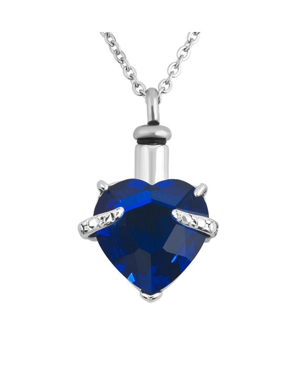 12 Colors Heart Crystal Cremation URN Necklace for Ashes Jewelry Memorial Keepsake Pendant - CE12H2CZ48D
