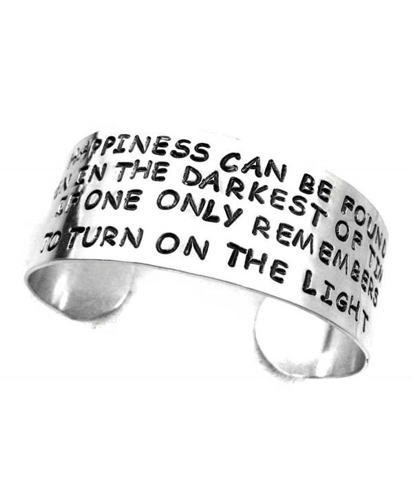Dumbledore Wide Bracelet - Happiness Can Be Found... Hand Stamped Harry Potter Jewelry - C1110MAH1SN