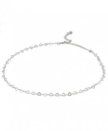 Sterling Silver Open Heart Italian Chain Choker Necklace - CH185G3K7M6