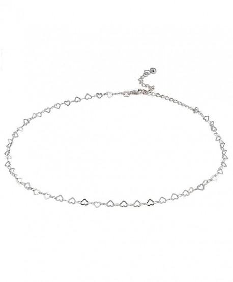 Sterling Silver Open Heart Italian Chain Choker Necklace - CH185G3K7M6