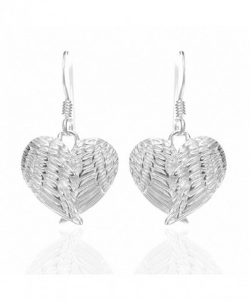 "925 Sterling Silver Angel Wings Heart Feathers Dangle Earrings 1.2"" - Nickel Free - C211I69DXCB"