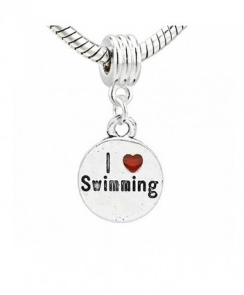 I Love Swimming Charm Dangle Bead for snake Chain charm Bracelet - CP11HNVQSX9