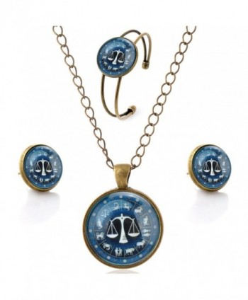 lureme Time Gem The Zodiac Series Simple Vintage Style Pendant Necklace Stud Earrings Bangle Jewelry Sets(SET003) - CO12FO6SY1X