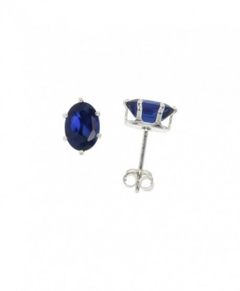 Sterling Silver Cubic Zirconia Oval Sapphire Earrings Studs Navy color 1.5 carat/pair - CJ111CE2Z5N
