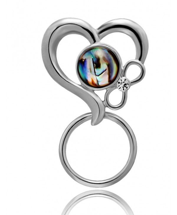 CHUANGYUN 3 Colors Abalone Shell Heart Shaped Strong Magnetic Brooch Eyeglass Holder-Couple Jewelry - Silver - CO182EOUXMH