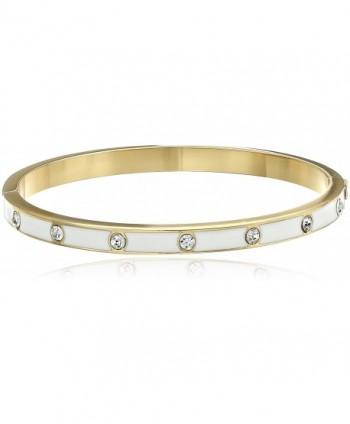 kate spade new york Set In Stone Enamel Glass Stone Hinged Bangle Bracelet - Clear/White - C0127L4O9HJ