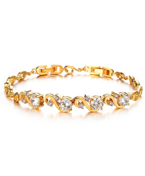 Women Gold Bracelet Diamond cut Cubic Zicornia Tennis Bracelet white Bangle - CH17Z2G2K95