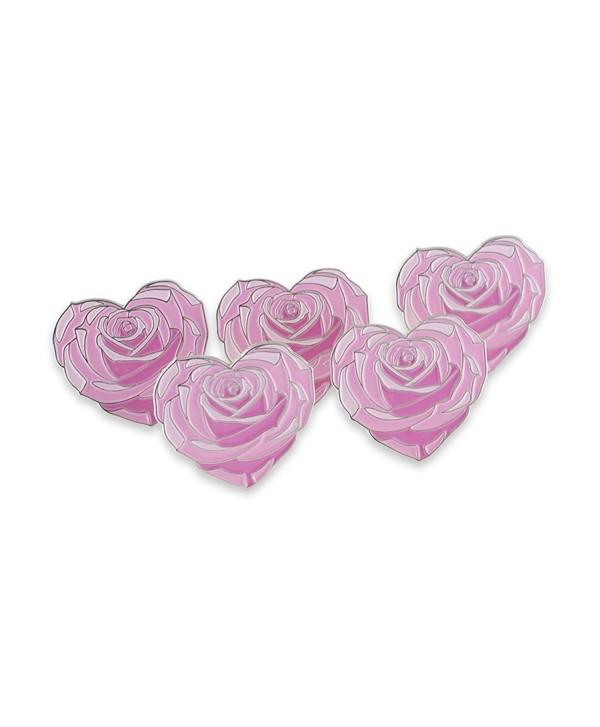 Heart Shaped Pink Rose Flower Enamel Lapel Pin - C618777HT7D