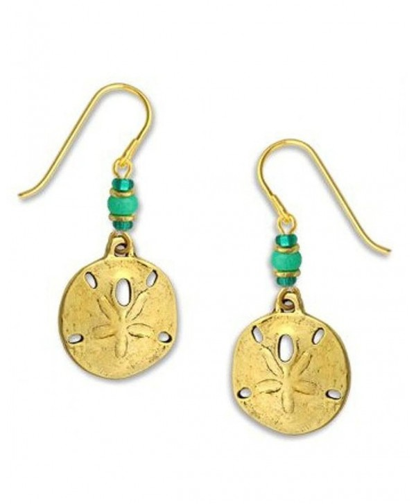 Sand Dollar Earrings Antique Gold-tone Plate with Beads Made in the USA by Sienna Sky - CG11BR0CLMJ