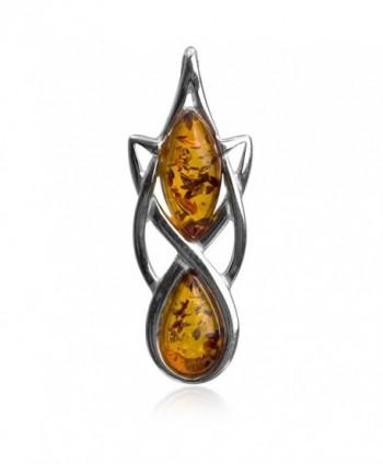 Amber Sterling Silver Celtic Elegant Pendant - CP115O2UAEB