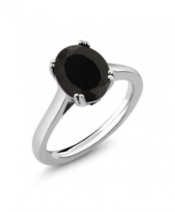 3.03 Ct Oval Black Onyx White Diamond 925 Sterling Silver Women's Ring (Available in size 5- 6- 7- 8- 9) - CL182ZT5TKC