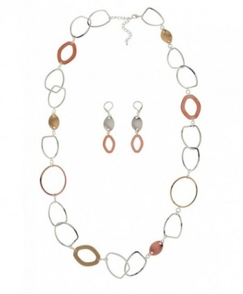 TRICOLOR Long Link Necklace & Earrings Set - Sparkling Plated Copper- Brass- Silver - C4125SHO58T